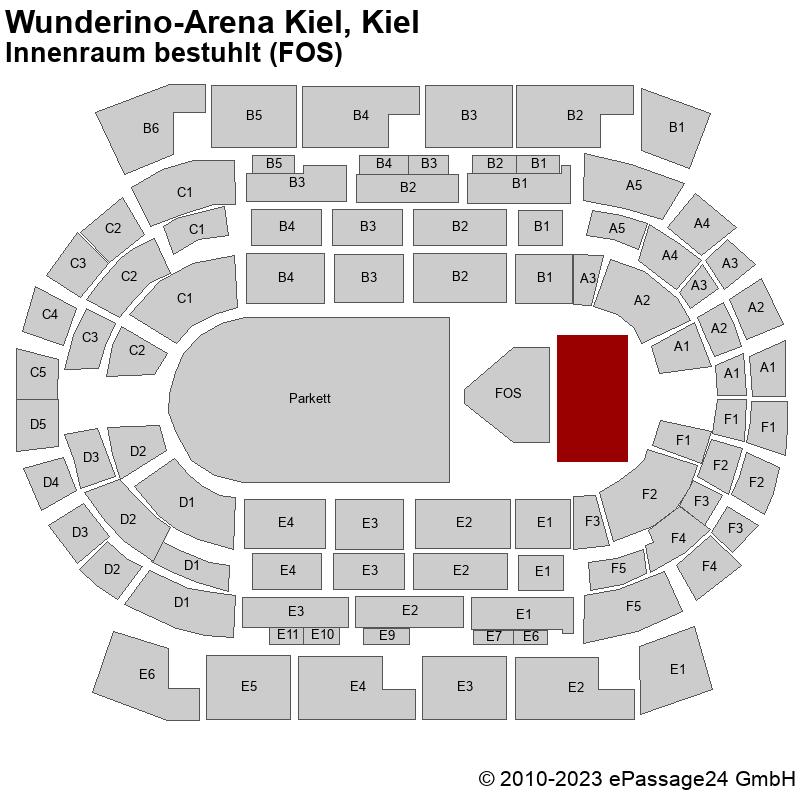 Saalplan Wunderino-Arena Kiel, Kiel, Deutschland, Innenraum bestuhlt (FOS)