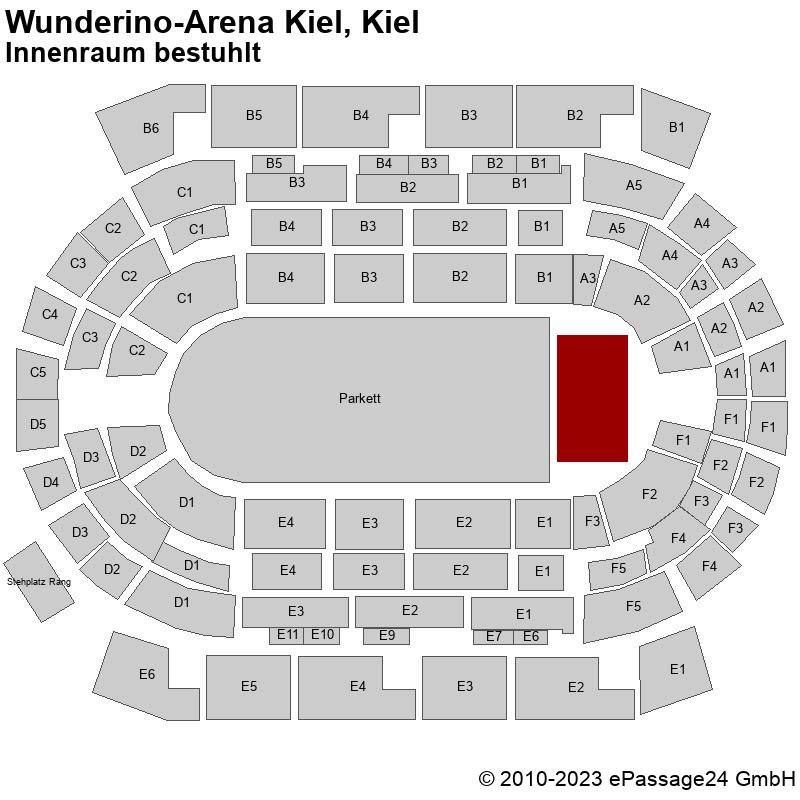 Saalplan Wunderino-Arena Kiel, Kiel, Deutschland, Innenraum bestuhlt