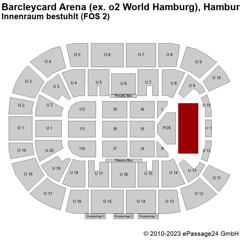 Saalplan Barcleycard Arena (ex. o2 World Hamburg), Hamburg, Deutschland, Innenraum bestuhlt (FOS 2)