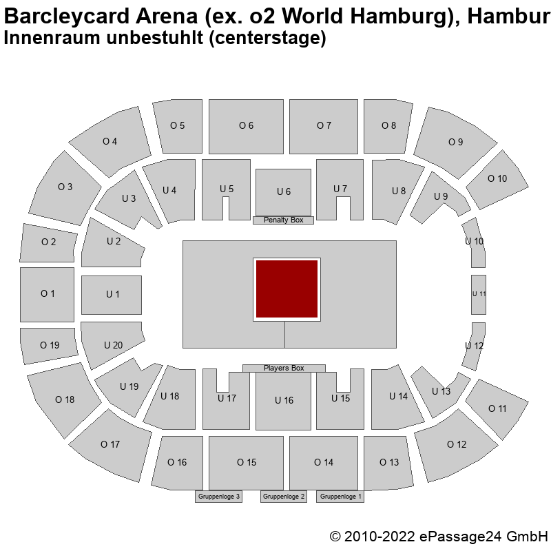 Saalplan Barcleycard Arena (ex. o2 World Hamburg), Hamburg, Deutschland, Innenraum unbestuhlt (centerstage)