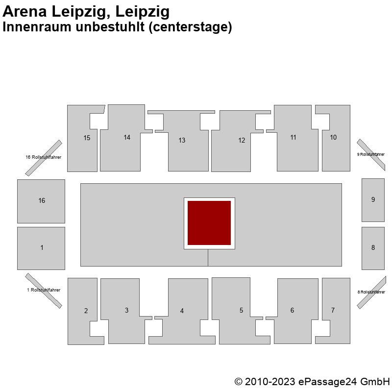 Saalplan Arena Leipzig, Leipzig, Deutschland, Innenraum unbestuhlt (centerstage)