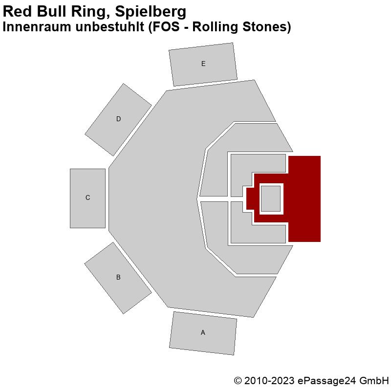 Saalplan Red Bull Ring, Spielberg, Österreich, Innenraum unbestuhlt (FOS - Rolling Stones)