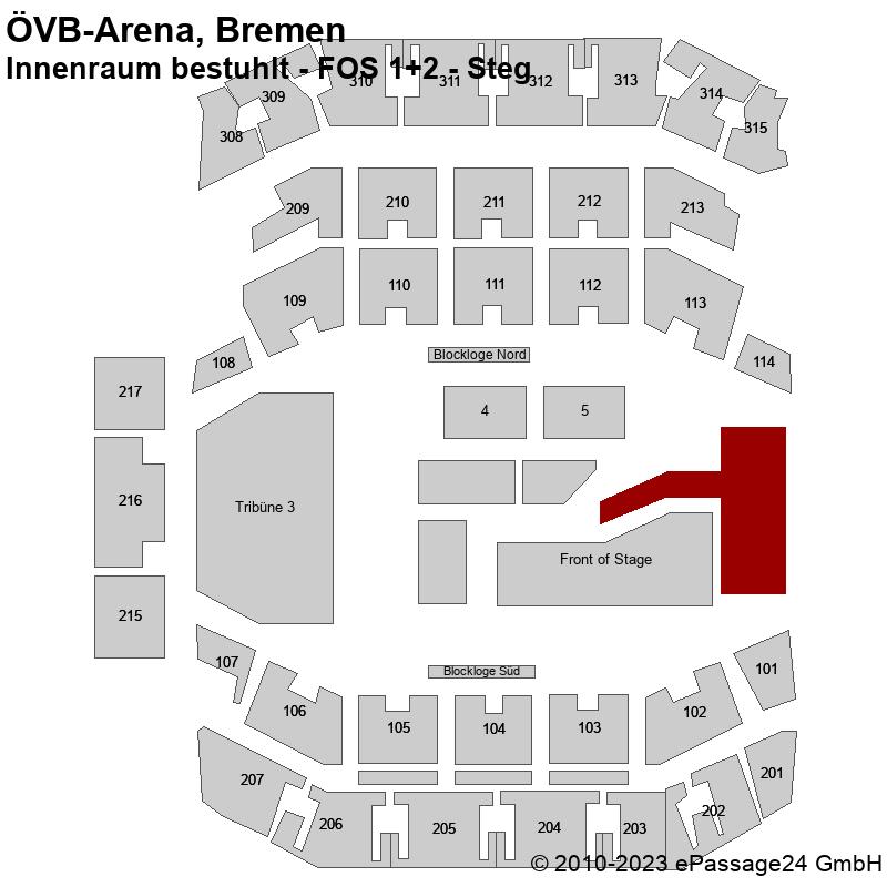 Saalplan ÖVB-Arena, Bremen, Deutschland, Innenraum bestuhlt - FOS 1+2 - Steg