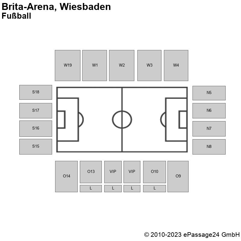 Saalplan Brita-Arena, Wiesbaden, Deutschland, Fußball