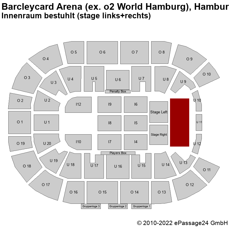 Saalplan Barcleycard Arena (ex. o2 World Hamburg), Hamburg, Deutschland, Innenraum bestuhlt (stage links+rechts)