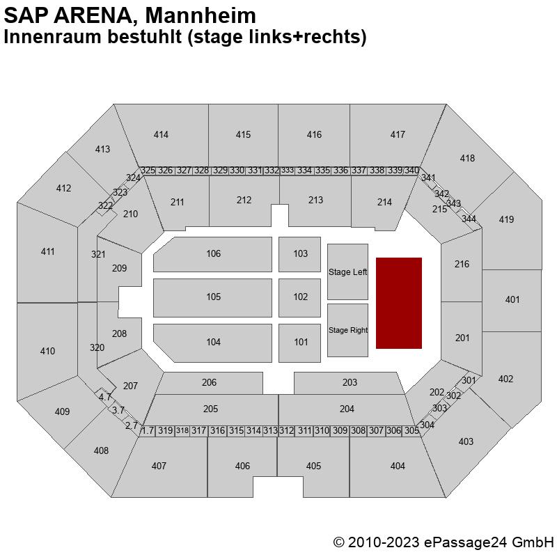 Saalplan SAP ARENA, Mannheim, Deutschland, Innenraum bestuhlt (stage links+rechts)