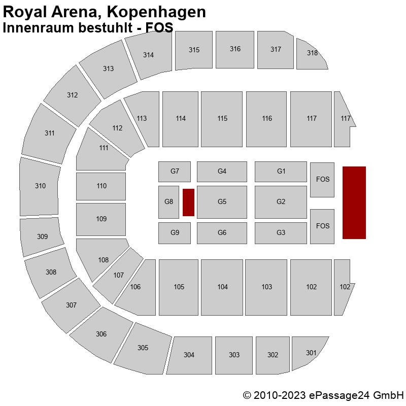 Saalplan Royal Arena, Kopenhagen, Dänemark, Innenraum bestuhlt - FOS