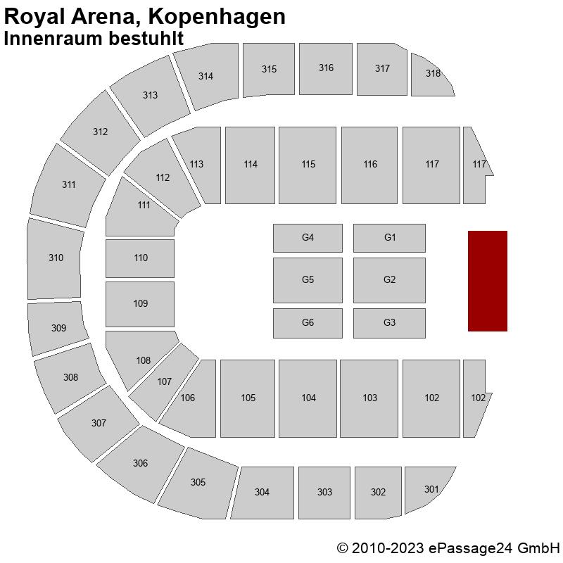 Saalplan Royal Arena, Kopenhagen, Dänemark, Innenraum bestuhlt
