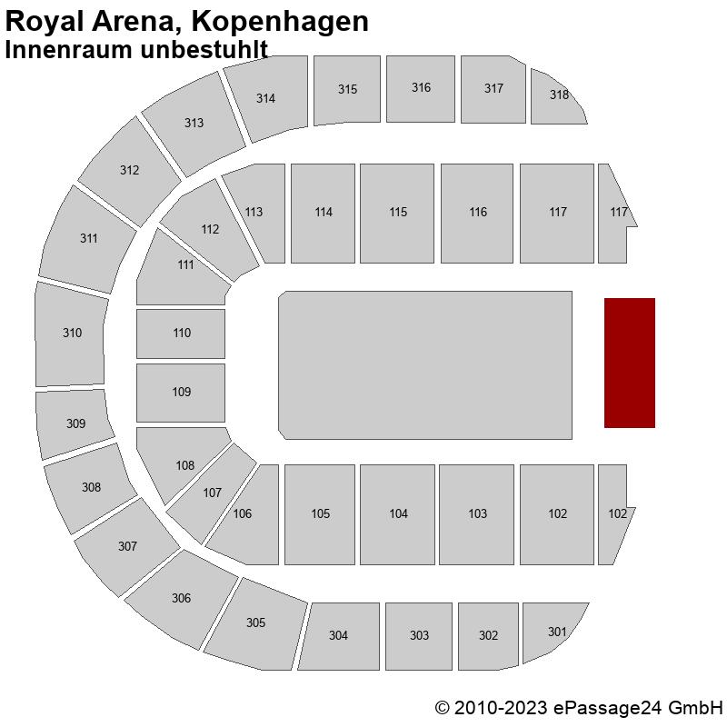 Saalplan Royal Arena, Kopenhagen, Dänemark, Innenraum unbestuhlt