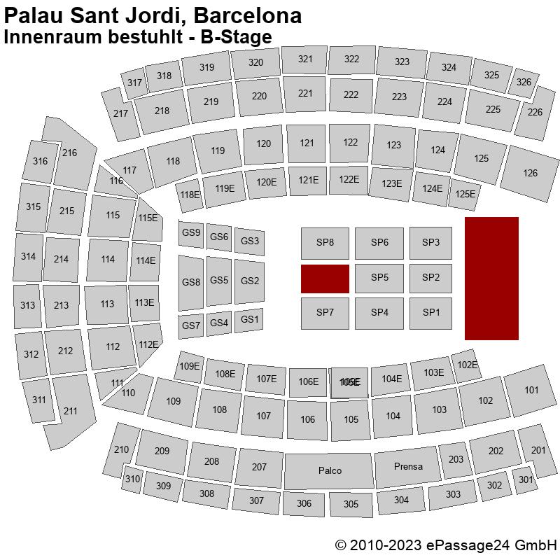 Saalplan Palau Sant Jordi, Barcelona, Spanien, Innenraum bestuhlt - B-Stage