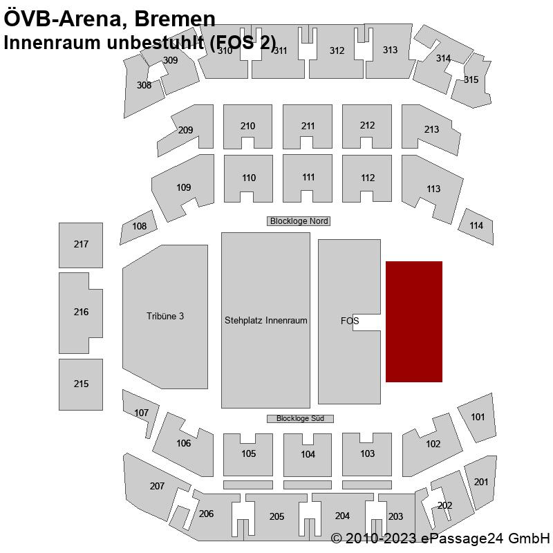 Saalplan ÖVB-Arena, Bremen, Deutschland, Innenraum unbestuhlt (FOS 2)