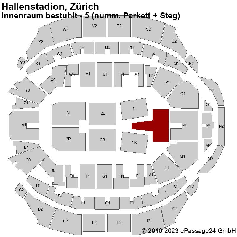 Saalplan Hallenstadion, Zürich, Schweiz, Innenraum bestuhlt - 5 (numm. Parkett + Steg)