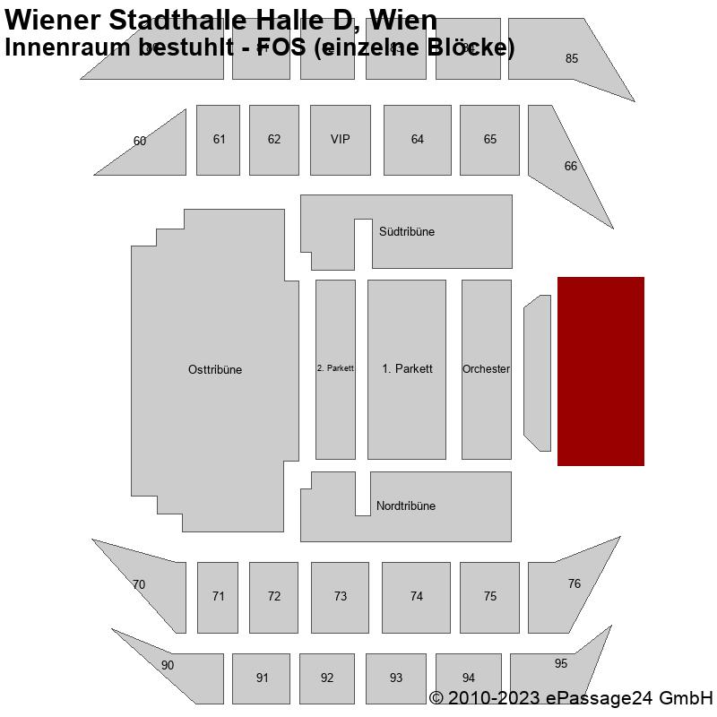 Saalplan Wiener Stadthalle Halle D, Wien, Österreich, Innenraum bestuhlt - FOS (einzelne Blöcke)
