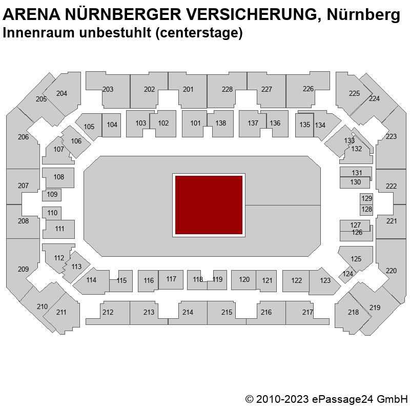 Saalplan ARENA NÜRNBERGER VERSICHERUNG, Nürnberg, Deutschland, Innenraum unbestuhlt (centerstage)