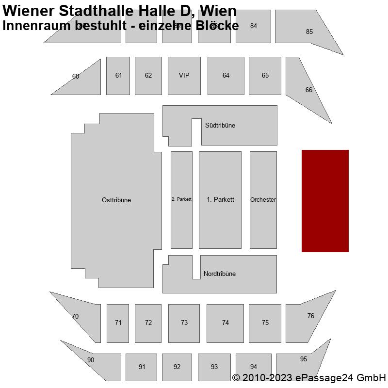 Saalplan Wiener Stadthalle Halle D, Wien, Österreich, Innenraum bestuhlt - einzelne Blöcke