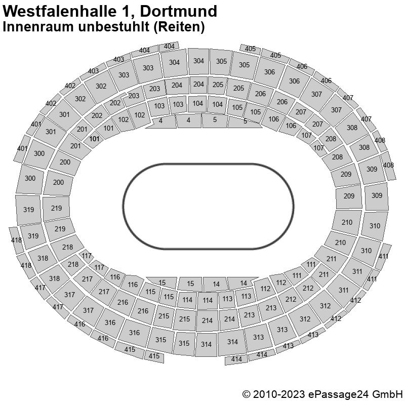 Saalplan Westfalenhalle 1, Dortmund, Deutschland, Innenraum unbestuhlt (Reiten)