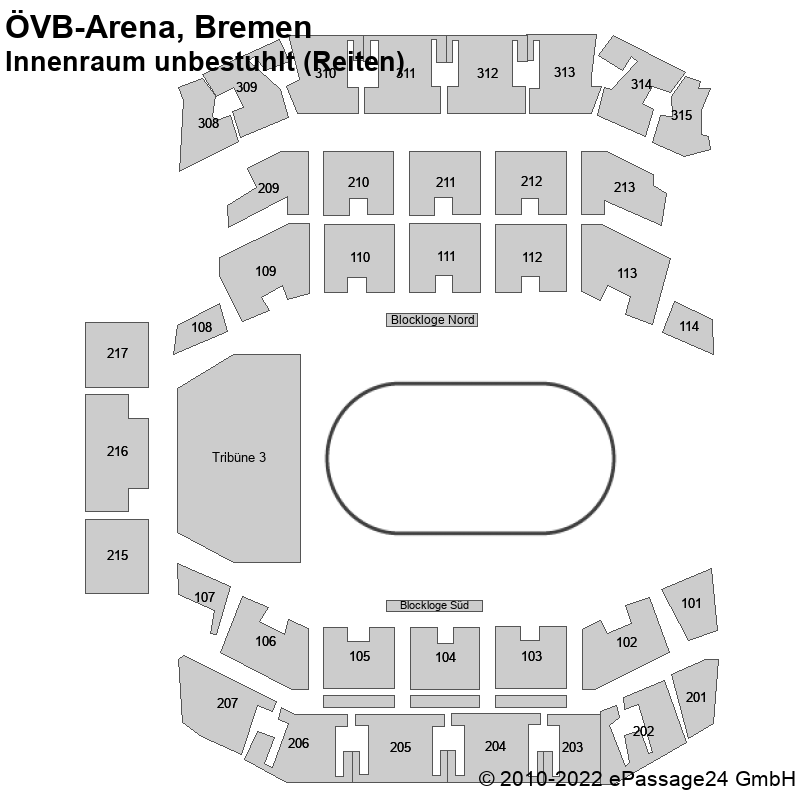 Saalplan ÖVB-Arena, Bremen, Deutschland, Innenraum unbestuhlt (Reiten)