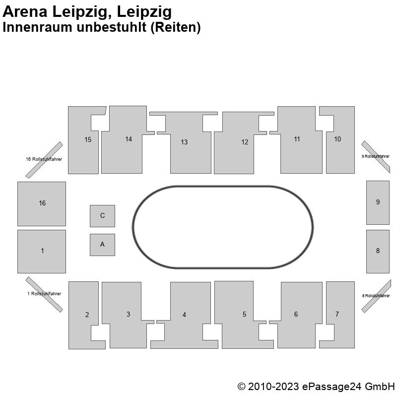 Saalplan Arena Leipzig, Leipzig, Deutschland, Innenraum unbestuhlt (Reiten)