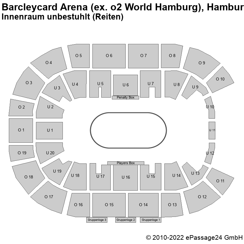 Saalplan Barcleycard Arena (ex. o2 World Hamburg), Hamburg, Deutschland, Innenraum unbestuhlt (Reiten)