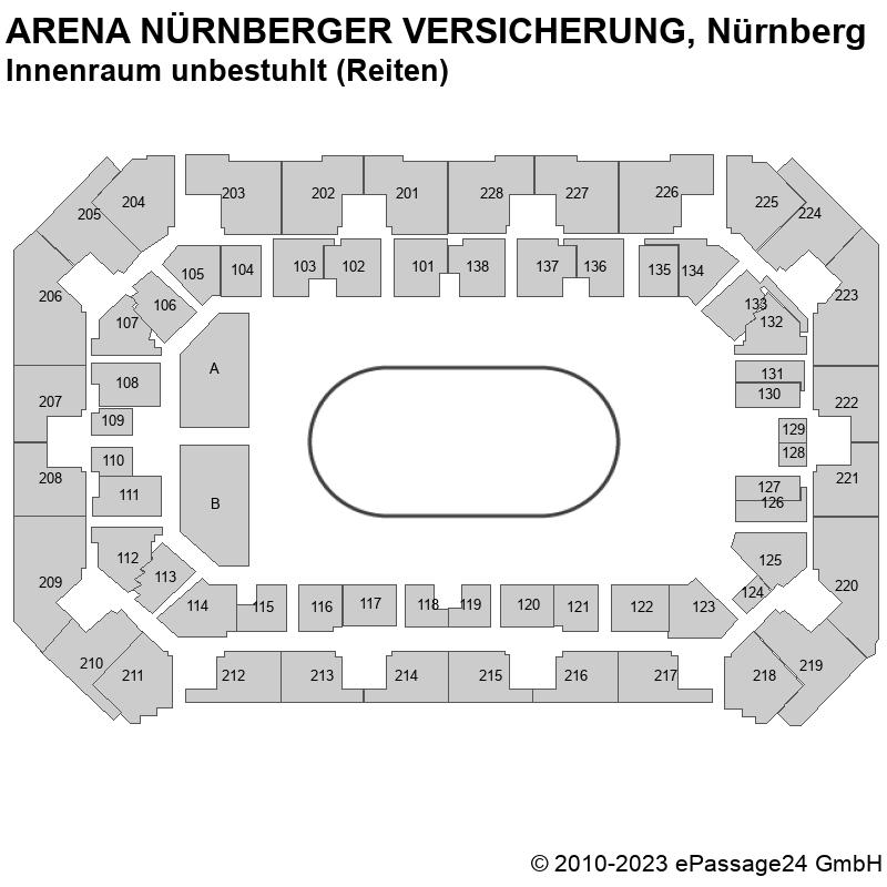 Saalplan ARENA NÜRNBERGER VERSICHERUNG, Nürnberg, Deutschland, Innenraum unbestuhlt (Reiten)