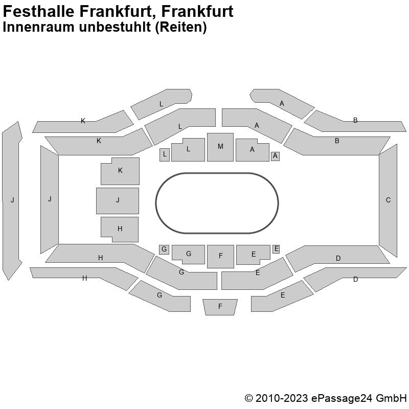 Saalplan Festhalle Frankfurt, Frankfurt, Deutschland, Innenraum unbestuhlt (Reiten)