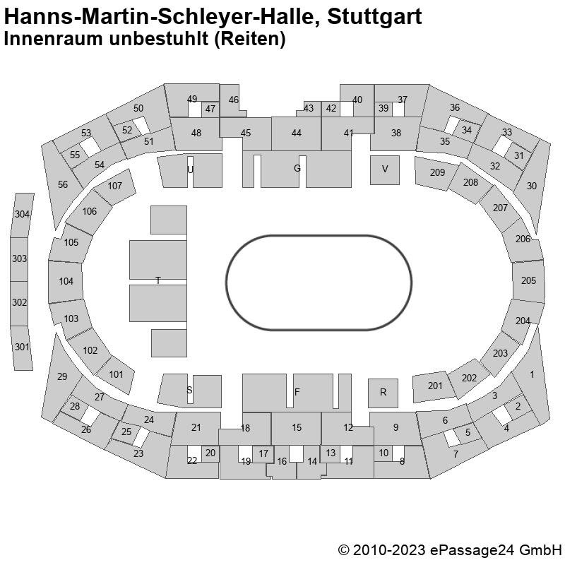 Saalplan Hanns-Martin-Schleyer-Halle, Stuttgart, Deutschland, Innenraum unbestuhlt (Reiten)