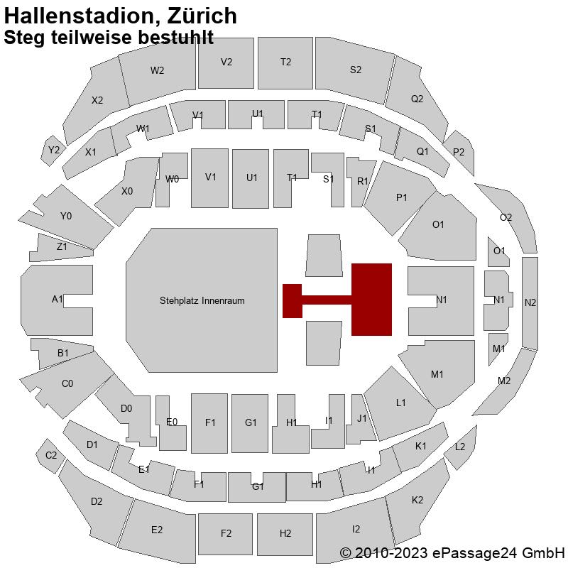 Saalplan Hallenstadion, Zürich, Schweiz, Steg teilweise bestuhlt