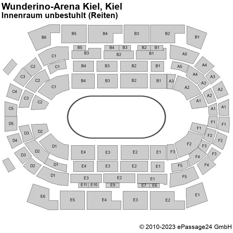 Saalplan Wunderino-Arena Kiel, Kiel, Deutschland, Innenraum unbestuhlt (Reiten)
