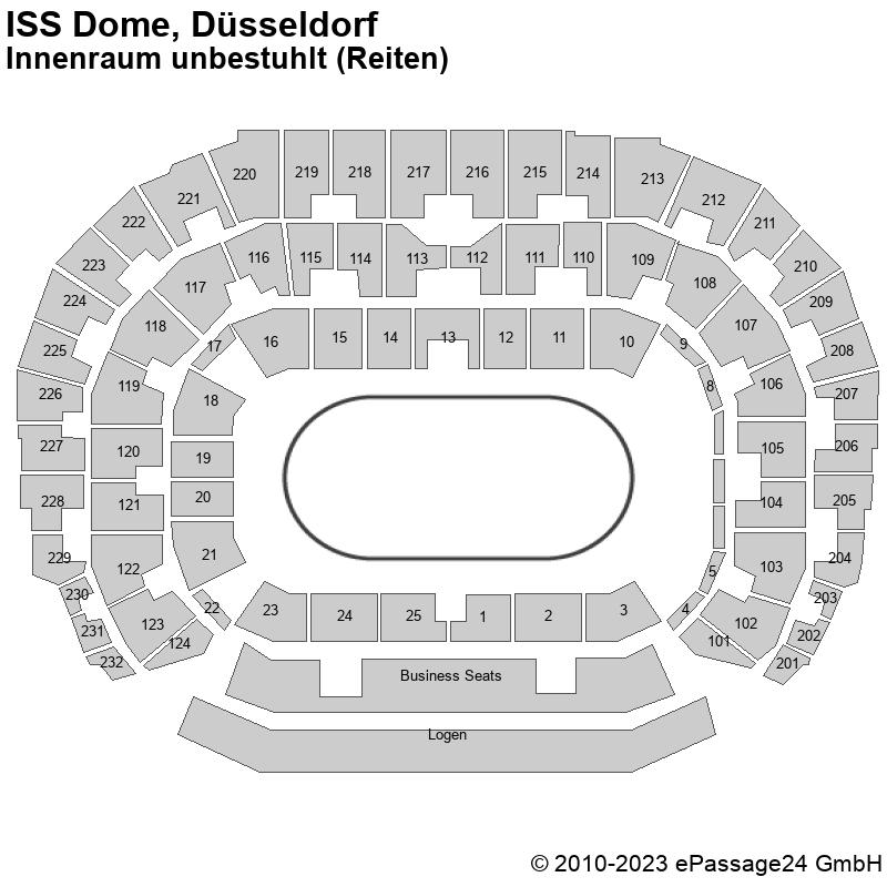 Saalplan ISS Dome, Düsseldorf, Deutschland, Innenraum unbestuhlt (Reiten)