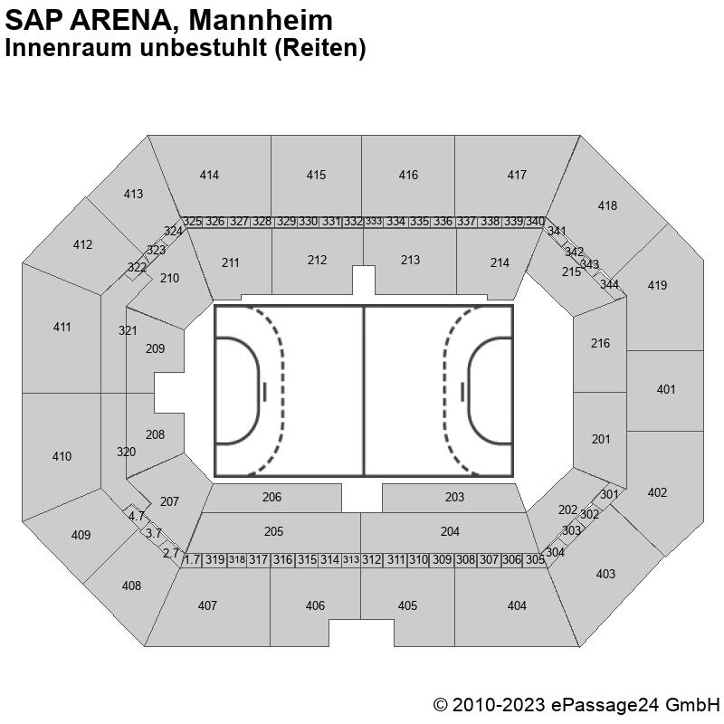 Saalplan SAP ARENA, Mannheim, Deutschland, Innenraum unbestuhlt (Reiten)