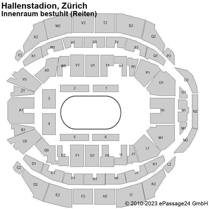 Saalplan Hallenstadion, Zürich, Schweiz, Innenraum bestuhlt (Reiten)