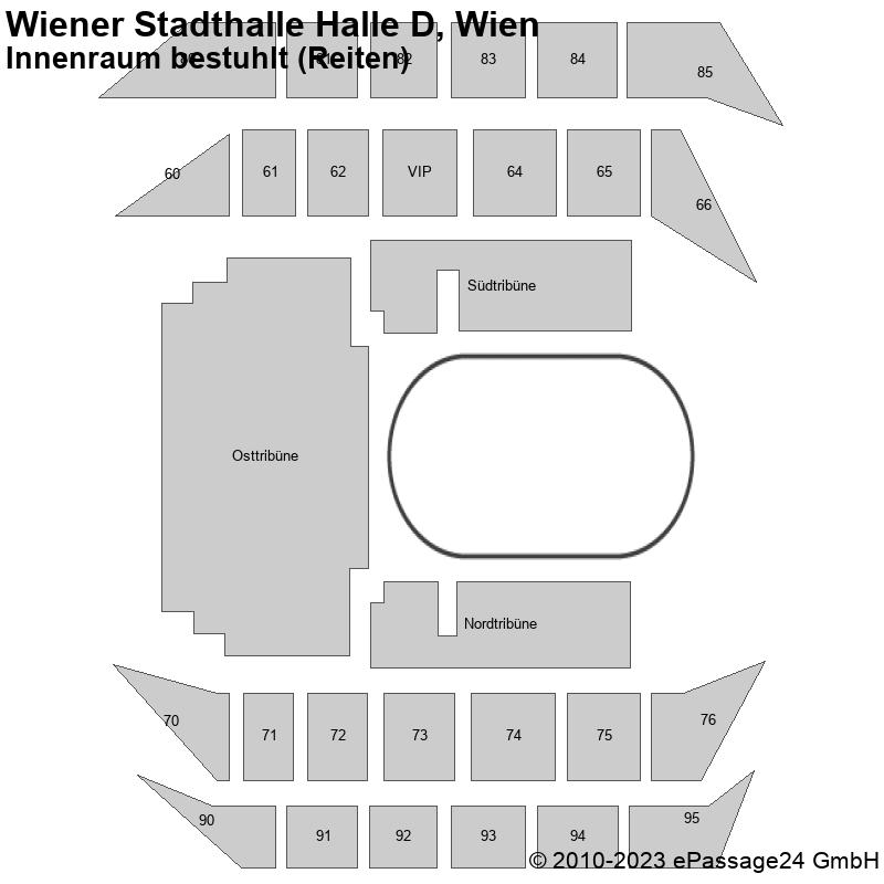 Saalplan Wiener Stadthalle Halle D, Wien, Österreich, Innenraum bestuhlt (Reiten)