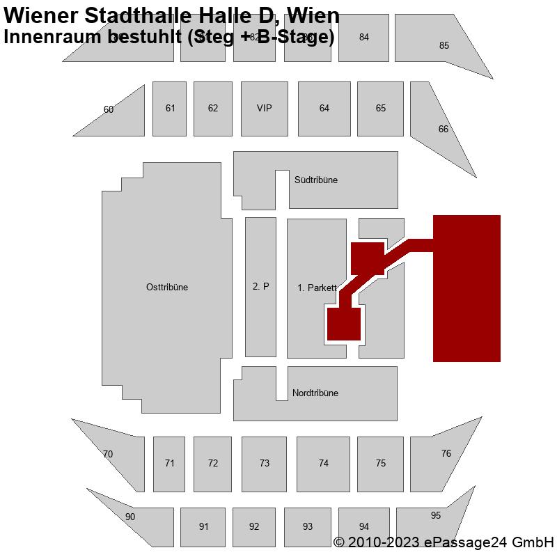 Saalplan Wiener Stadthalle Halle D, Wien, Österreich, Innenraum bestuhlt (Steg + B-Stage)