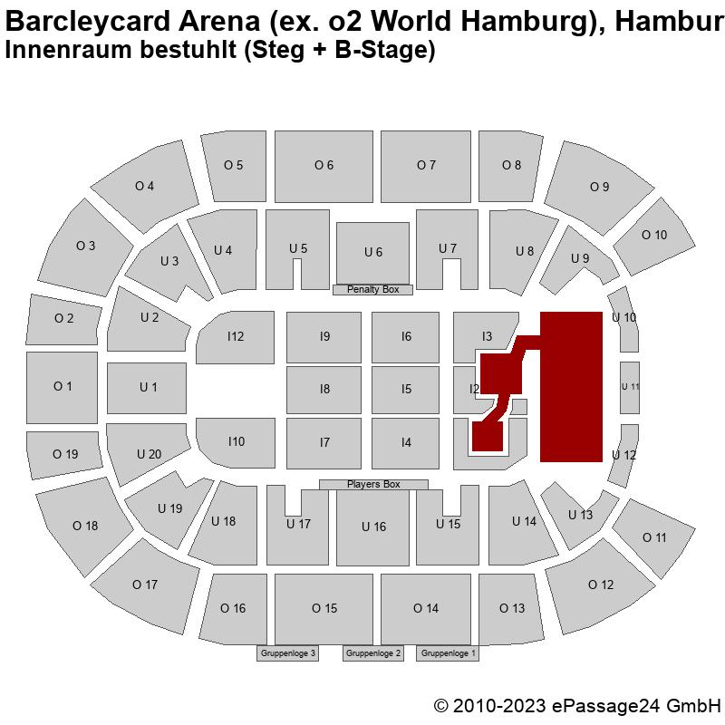 Saalplan Barcleycard Arena (ex. o2 World Hamburg), Hamburg, Deutschland, Innenraum bestuhlt (Steg + B-Stage)