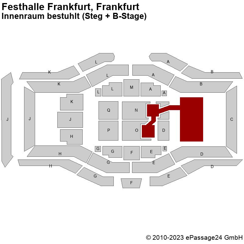 Saalplan Festhalle Frankfurt, Frankfurt, Deutschland, Innenraum bestuhlt (Steg + B-Stage)
