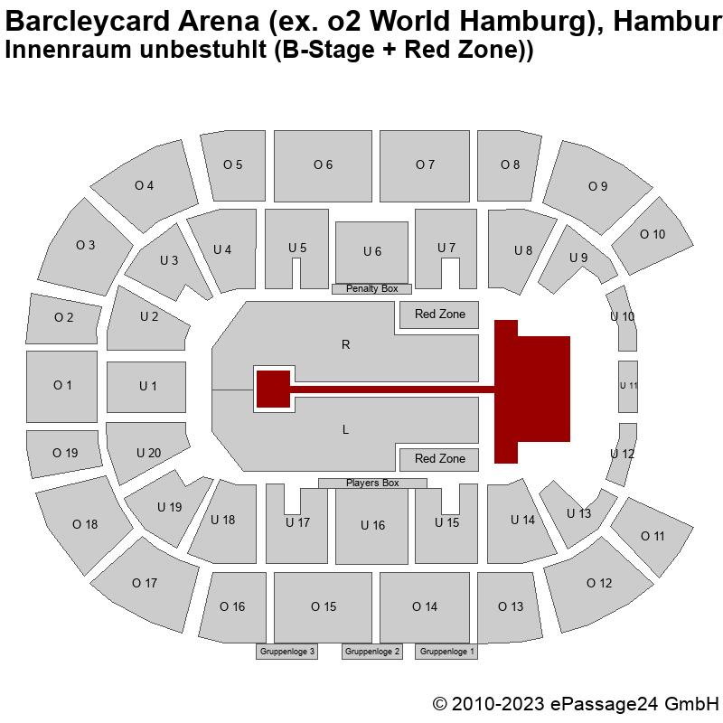 Saalplan Barcleycard Arena (ex. o2 World Hamburg), Hamburg, Deutschland, Innenraum unbestuhlt (B-Stage + Red Zone))