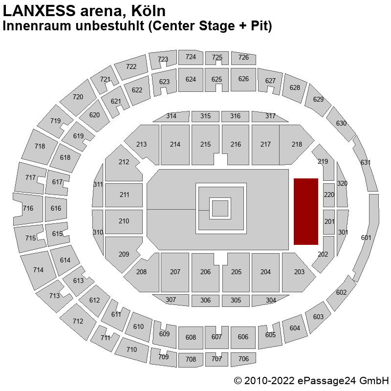 Saalplan LANXESS arena, Köln, Deutschland, Innenraum unbestuhlt (Center Stage + Pit)