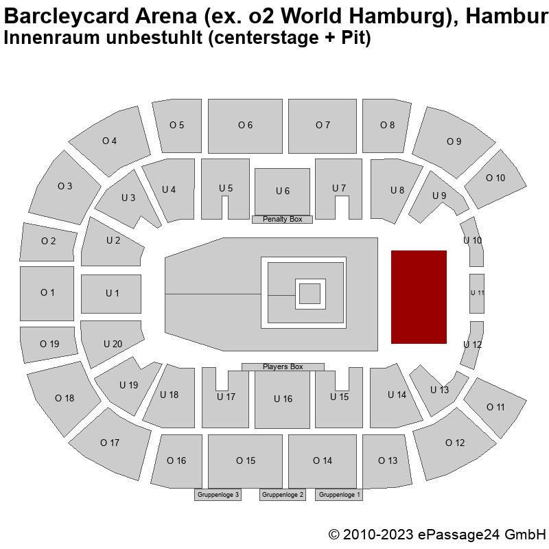 Saalplan Barcleycard Arena (ex. o2 World Hamburg), Hamburg, Deutschland, Innenraum unbestuhlt (centerstage + Pit)