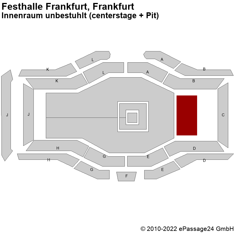 Saalplan Festhalle Frankfurt, Frankfurt, Deutschland, Innenraum unbestuhlt (centerstage + Pit)