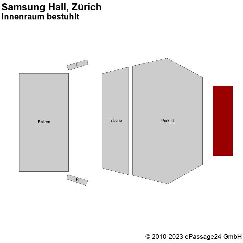 Saalplan Samsung Hall, Zürich, Schweiz, Innenraum bestuhlt