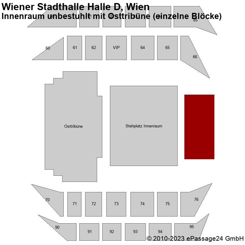 Saalplan Wiener Stadthalle Halle D, Wien, Österreich, Innenraum unbestuhlt mit Osttribüne (einzelne Blöcke)
