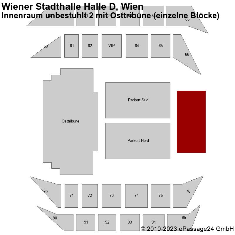 Saalplan Wiener Stadthalle Halle D, Wien, Österreich, Innenraum unbestuhlt 2 mit Osttribüne (einzelne Blöcke)