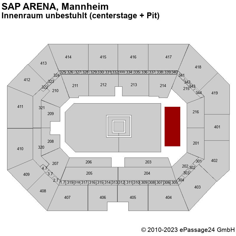 Saalplan SAP ARENA, Mannheim, Deutschland, Innenraum unbestuhlt (centerstage + Pit)