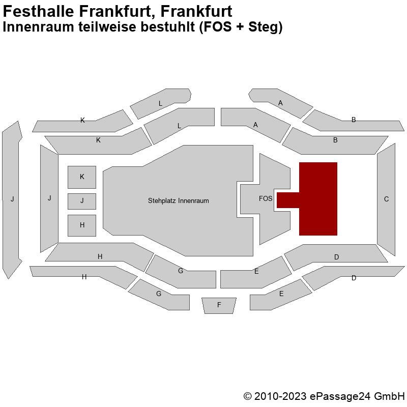 Saalplan Festhalle Frankfurt, Frankfurt, Deutschland, Innenraum teilweise bestuhlt (FOS + Steg)