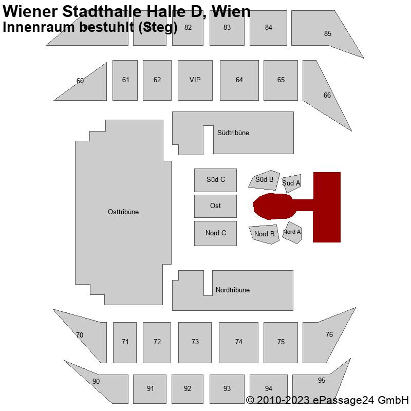 Saalplan Wiener Stadthalle Halle D, Wien, Österreich, Innenraum bestuhlt (Steg)