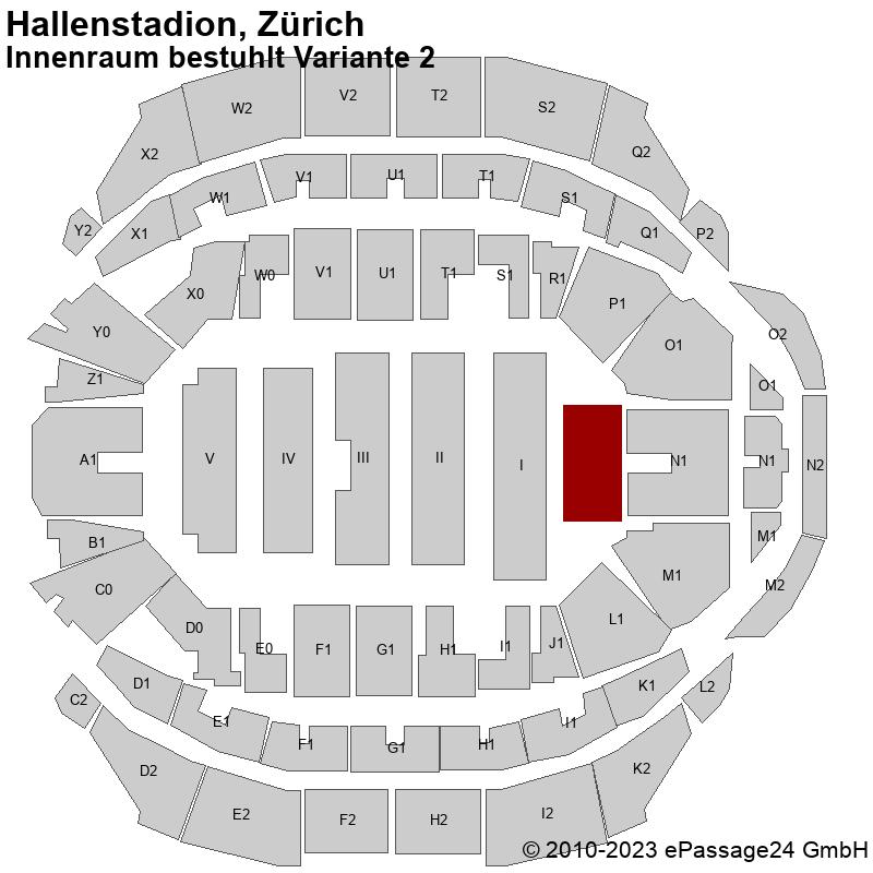 Saalplan Hallenstadion, Zürich, Schweiz, Innenraum bestuhlt Variante 2