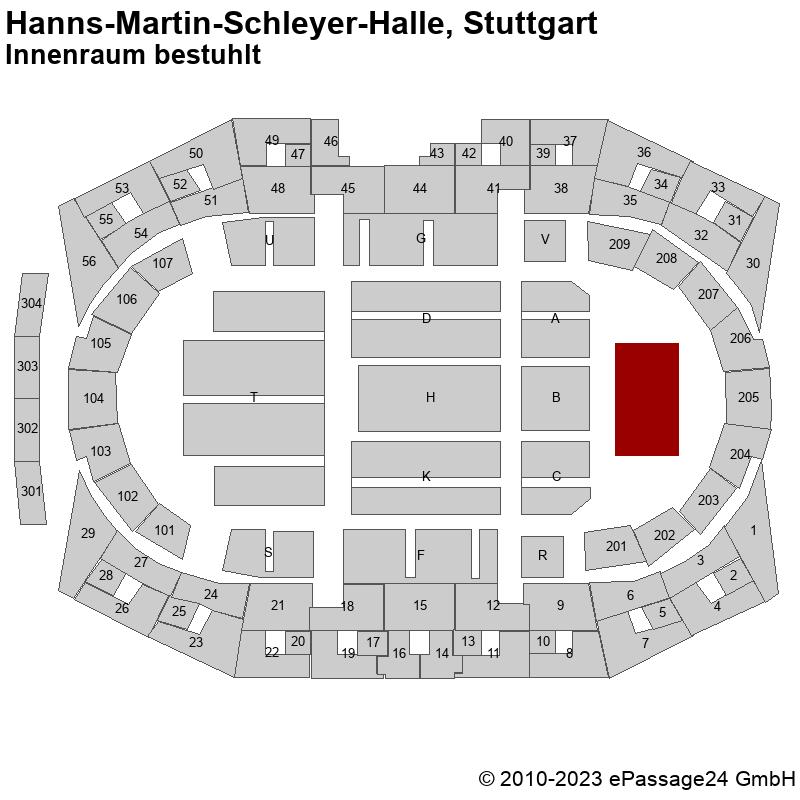 Saalplan Hanns-Martin-Schleyer-Halle, Stuttgart, Deutschland, Innenraum bestuhlt