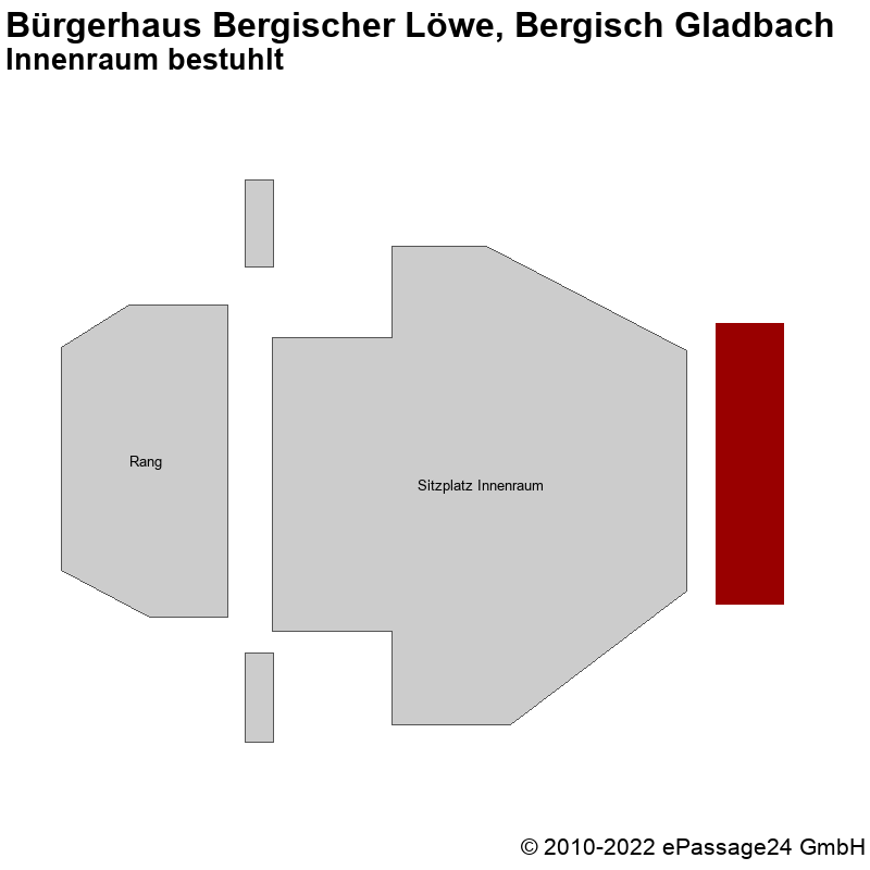 Saalplan Bürgerhaus Bergischer Löwe, Bergisch Gladbach, Deutschland, Innenraum bestuhlt