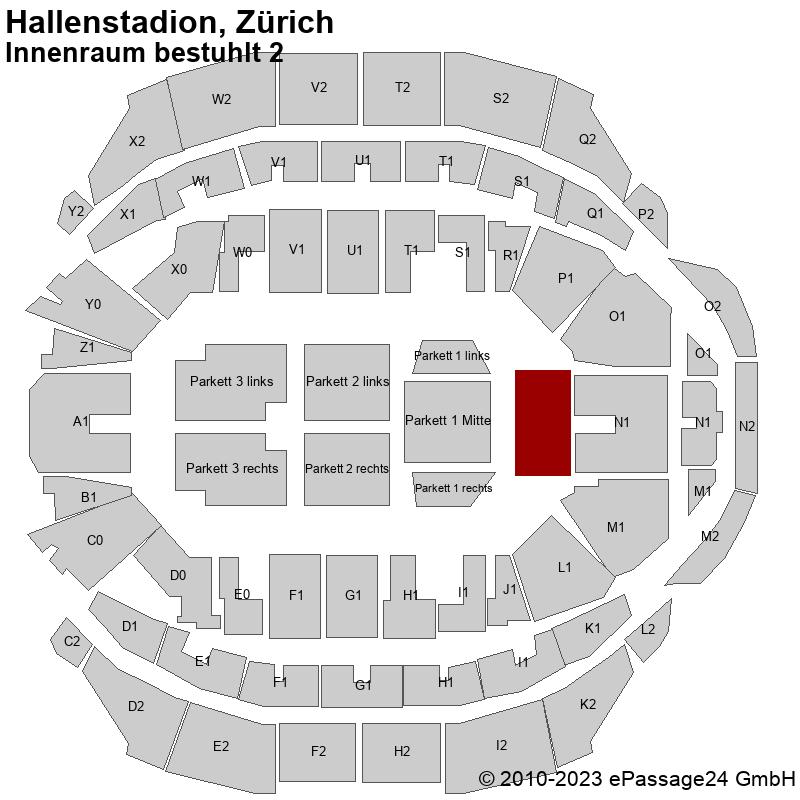 Saalplan Hallenstadion, Zürich, Schweiz, Innenraum bestuhlt 2