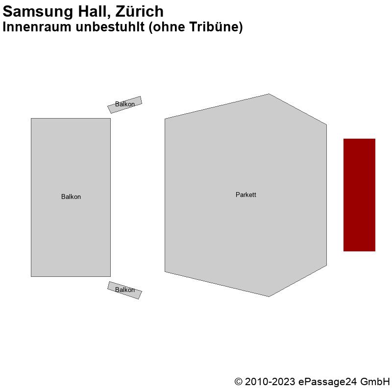 Saalplan Samsung Hall, Zürich, Schweiz, Innenraum unbestuhlt (ohne Tribüne)
